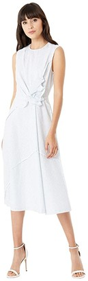 Jason Wu Sleeveless Asymmetric Ruffle Dress (Star White/Capri Blue) Women's Clothing
