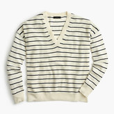 J.Crew Striped V-neck sweater in cotton-merino wool