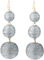 Kenneth Jay Lane Threaded Triple-Drop Ball Earrings, Gray