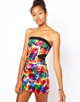 Motel Printed Strapless Dress