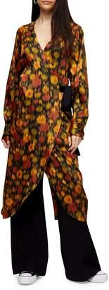 Topshop Blurred Floral-Print Wrap Dress by Boutique