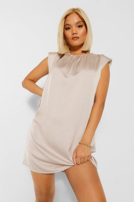 boohoo Petite Satin Shoulder Pad Mini Dress