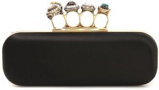 Alexander McQueen Jeweled Four Ring silk box clutch