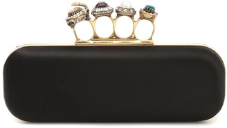 Alexander McQueen Jeweled Four Ring silk box clutch