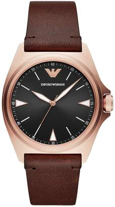 Emporio Armani Nicola 3-Hand Stainless Steel Leather-Strap Watch