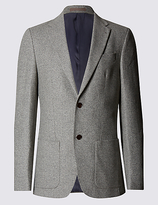 Collezione Wool Blend Tailored Fit Two Tone 2 Button Jacket With Buttonsafetm