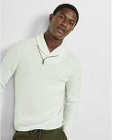 Express shawl collar cotton popover with zipper