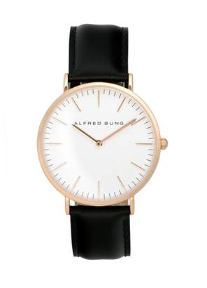 Alfred Sung Rose Goldtone Leather-Strap Watch