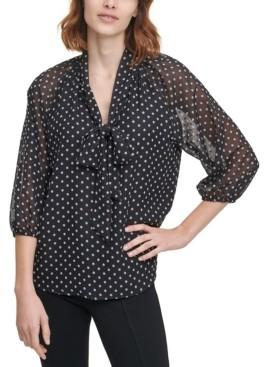 Calvin Klein Printed Tie Sheer-Sleeve Top