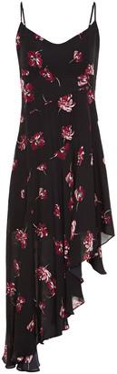 Nicholas Asymmetric Floral-print Silk Crepe De Chine Dress