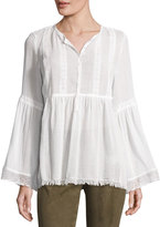 Max Studio Lace-Trim Mesh Blouse, Off White