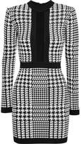 Balmain Houndstooth Mesh-trimmed Stretch-knit Mini Dress - Black