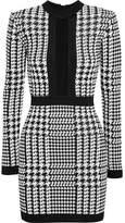 Balmain Houndstooth Mesh-trimmed Stretch-knit Mini Dress