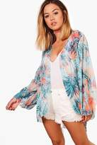 boohoo Petite Francesca Tropical Floral Kimono multi