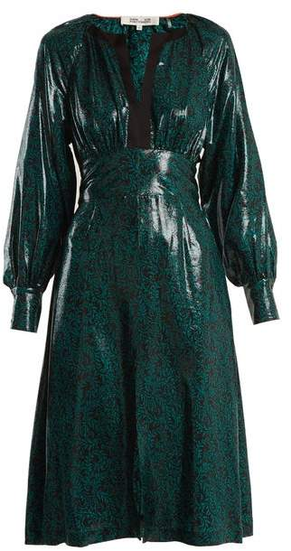Diane von Furstenberg Paisley Print Silk Blend Dress - Womens - Green Print