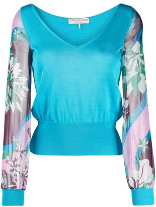 Emilio Pucci floral sleeve top