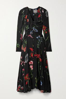 Lela Rose Ruched Floral-print Crepe Midi Dress - Black