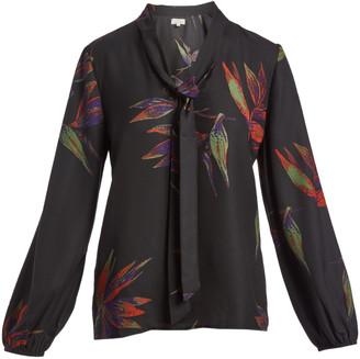 Très Jolie Women's Blouses BLACK - Black & Red Floral Tie-Neck Long-Sleeve Top - Women