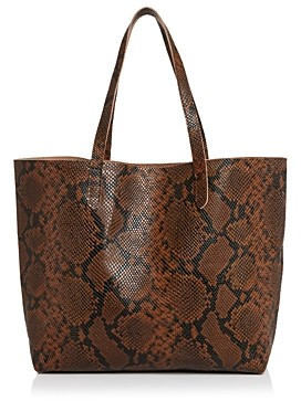 Aqua Snake-Print Leather Tote - 100% Exclusive