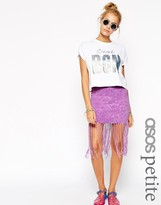 Asos Mini Skirt With Self Fringing In Tie Dye