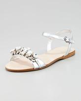 Miu Miu Crystal Strap Flat Sandal, Silver