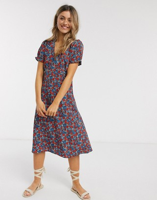 Brave Soul raissa midi tea dress in small floral print