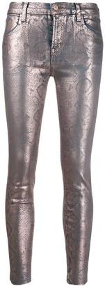 J Brand Alana snakeskin-print trousers