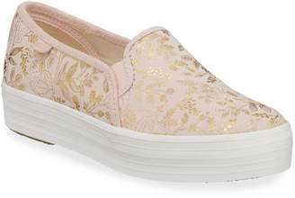 Keds Trip Deck Floral-Print Leather Sneakers