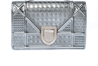 Christian Dior Silver Micro Cannage Patent Leather Baby Diorama Shoulder Bag