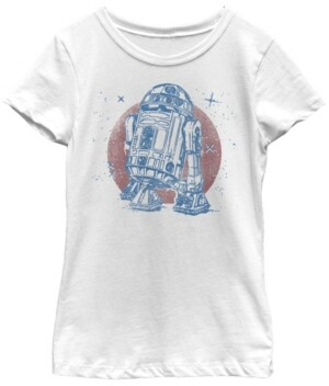 Fifth Sun Star Wars Big Girl's R2-D2 Vintage-Like Neon Retro Sparkly Badge Short Sleeve T-Shirt