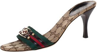Gucci Multicolor Vintage Web GG Logo Detail Slide Sandals Size 36