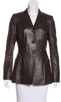 Escada Sport Leather Notch-Lapel Coat