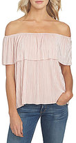 1 STATE Off-the-Shoulder Pleated Knit Top