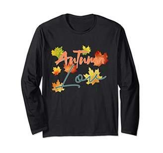 Autumn love fall casual fashion tops colorful fall leaves Long Sleeve T-Shirt