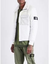 Stone Island Mens White Patch Pocket Featherweight Primloft Leather Coat