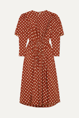 pushBUTTON Cape-effect Polka-dot Pleated Crepe De Chine Midi Dress