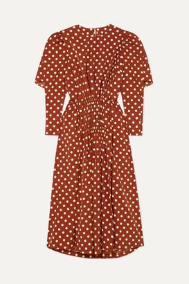 Pushbutton - Cape-effect Polka-dot Pleated Crepe De Chine Midi Dress - Brown