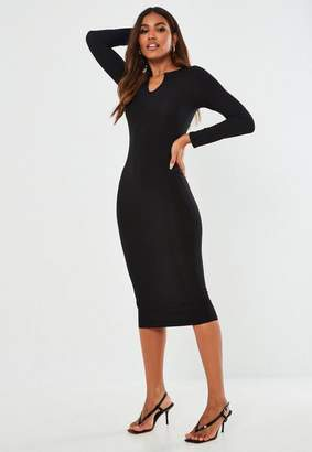 Missguided Black Ribbed Notch Neck Midi Dress