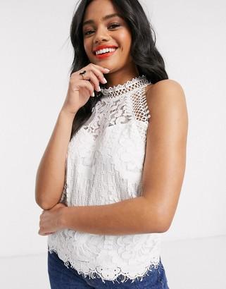 Lipsy lace halterneck top in white