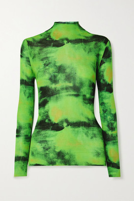 Versace - Embroidered Tie-dyed Ribbed Silk-jersey Top - Green