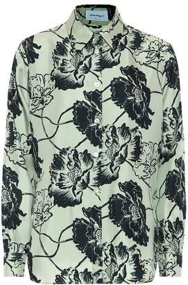 Salvatore Ferragamo Floral silk-faille shirt