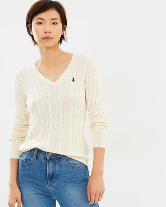 Polo Ralph Lauren Kimberly Cable Cotton V-Neck Sweater