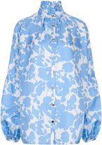 MacGraw Blue & White Botanical Baguette Blouse