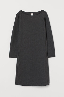 H&M Boat-neck Jersey Dress - Gray