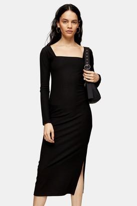 Topshop Black Ribbed 90s Long Sleeve Midi Dress