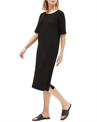 Eileen Fisher Petite Lyocell Jersey Short-Sleeve Dress w/ Side Slit