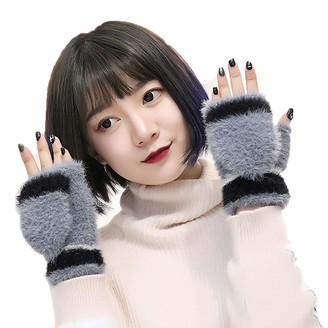 Ushiny Womens Winter Faux Fur Gloves Knit Wrist Warmer Fingerless Mittens Thumb Hole Gloves for Winter (Grey)
