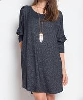 Blu Heaven Black Ruffle-Sleeve Scoop Neck Shift Dress