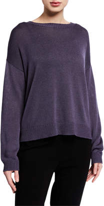 Eileen Fisher Round-Neck Lyocell/Organic Cotton/Silk Sweater