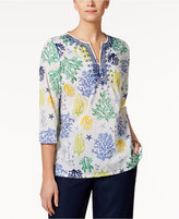 Charter Club Cotton Printed Embroidered Tunic, Only at Macy's